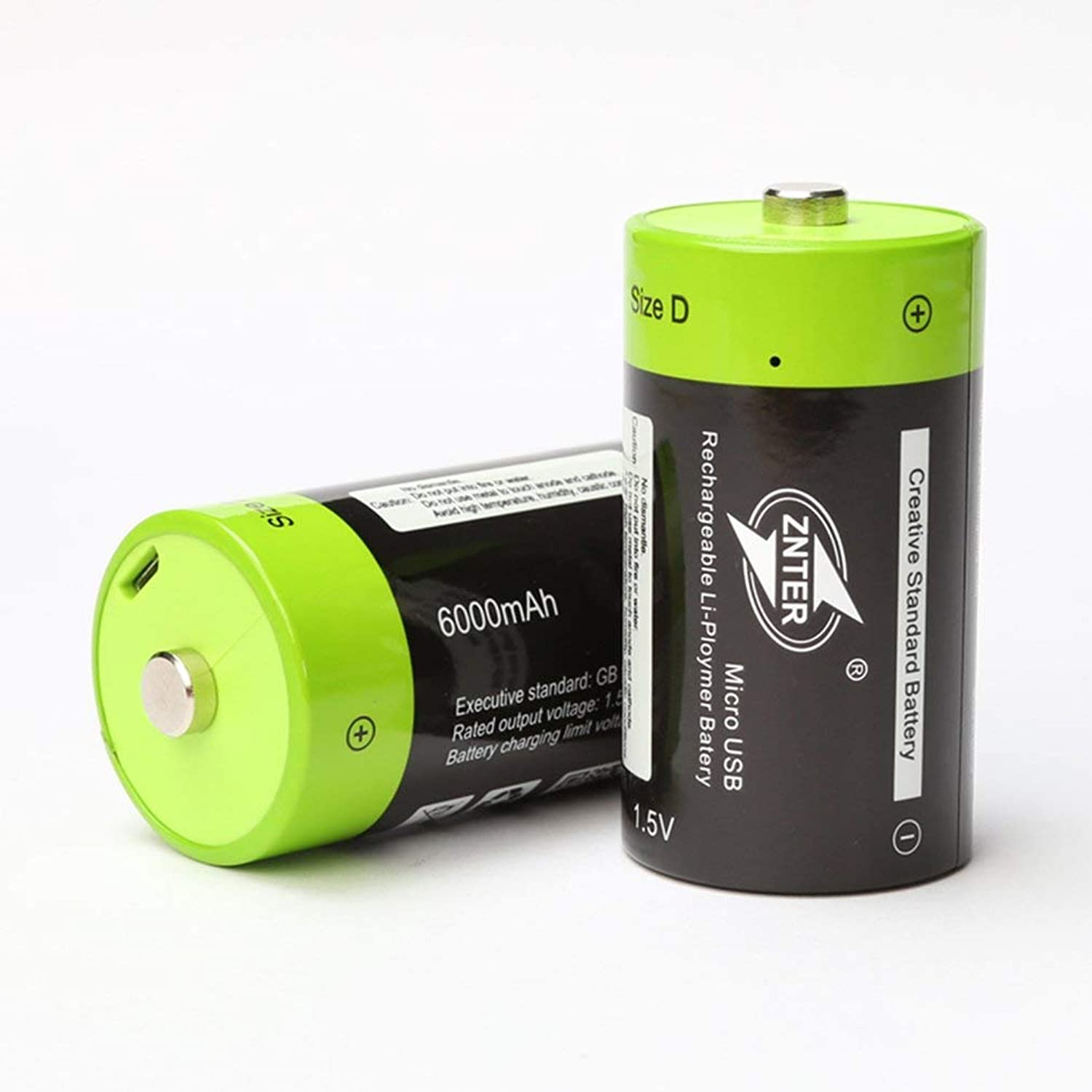 ZNTER ZNT11R 1pcs 2pcs 1.5V 6000mAh USB Rechargeable D Battery Recycle Multifunctional Charged Lithium Polymer Play and Plug