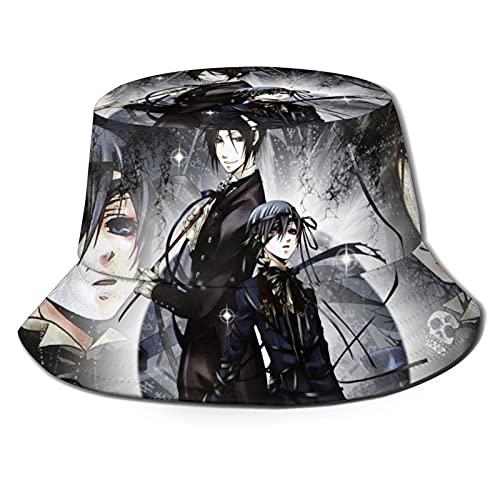 Marat Sombrero de cubo para mayordomo negro 3D unisex sol al aire libre ala ancha sombreros unisex verano pesca Cap