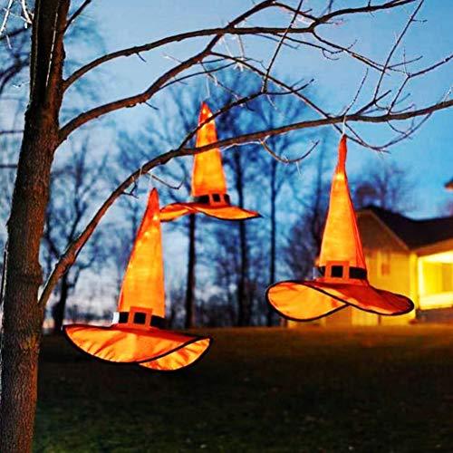 HELEVIA 8Pcs Weihnachtsdekoration Hut Lichterkette, Weihnachten Hängender beleuchtet Halloween Deko mit LED-hellem Garten Deko Hexe Zubehör für Karneval Weihnachtsfeier