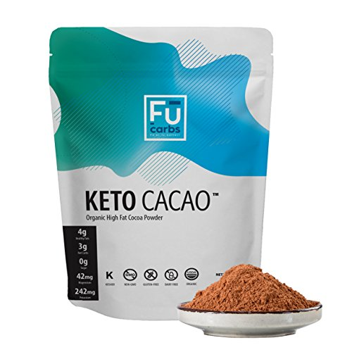 Fū Carbs Keto Cacao Powder - Low Carb & Certified Organic. Twice the Fat of other Brands' Cocoa Powder. Perfect for Coffee, Shakes, and Snacks to Enhance Ketogenic, Paleo, High Fat diets. 1 LB
