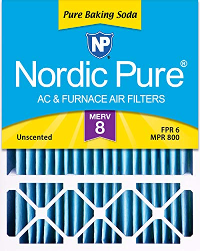 Nordic Pure 20x25x5 MERV 8 Pure Baking Soda Odor Reducer Honeywell AC Furnace Air Filter 1 Pack