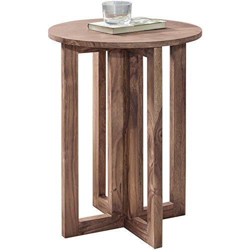 WOHNLING Bijzettafel massief hout acacia design woonkamertafel 45 x 45 cm rond salontafel natuurhout donkerbruin nachtkastje landhuisstijl nachtkastje echt hout aanzettafel telefoontafel 60 cm hoog