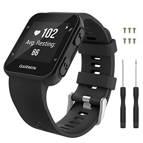 MoKo Correa para Garmin Forerunner 35, Suave silicona de repuesto reloj correa de pulsera de deporte de la banda con 6pcs tornillos y destornilladores 2pcs para Garmin Forerunner 35 GPS Running Smart Watch, Negro