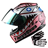 WOW Youth Motorcycle Full Face Helmet Street Bike BMX MX Kids Shark Pink + MX Skeleton Glove Bundle