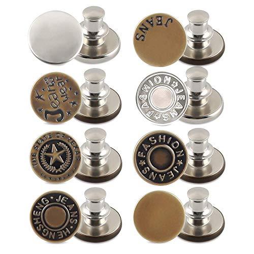 Esportic 8 Instant Buttons,Bottoni Jeans, Bottoni per Jeans Regolabili, Bottoni Automatici in Metallo,Bottoni Jeans Regolabili di Ricambio Nessun Bottone Istantaneo in Metallo Bottoni (A)