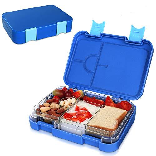 Brotdose Kinder Lunchbox Bento Box 6 fächern für Kinder & Erwachsene BPA-Frei Schule Kindergarten Lunch Bento Box mit Abnehmbare Trennwand Mikrowelle und Geschirrspler Verwendbar (B)