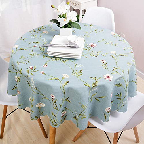 YuHengJin Quality Rectangular Fabric Tablecloth Cotton Linen Floral for Kitchen Dinning Tabletop Decoration A Blue Circle Diameter 90cm