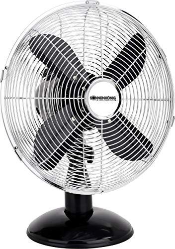 Sonnenkönig Tischventilator - 30 cm - Ventilator mit 90° Oszillation - 35W - 3 Leistungsstufen - Metall - schwarz/chrom