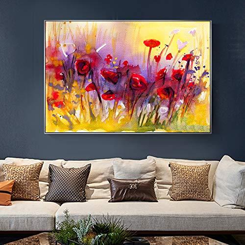 KWzEQ Rahmenlose Malerei Abstrakte Mohnblume Leinwand Bild Moderne rote Blumen Pop-Art, Wohnzimmer DekorationAY6621 60X90cm