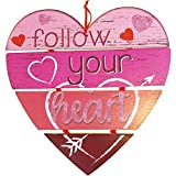 Valentine's Day Decorations for The Home Pink Heart Shaped Wooden Sign 12' Wall Art Room Decor for Anniversary Decorations Romantic Love Long Distance Relationships Gift for Her Wood Hanging Plaque