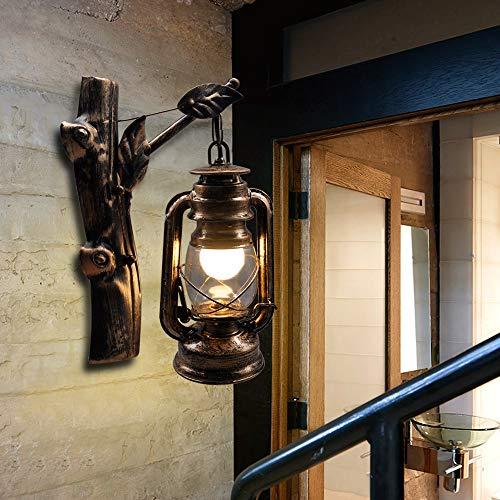 Artpad Industriële Wand Led Schansen Licht, Oud Antiek Design Boomstronk Basis Muur Hangende Kerosinelamp, Metalen Kooi Wandverlichting voor Binnenverlichting