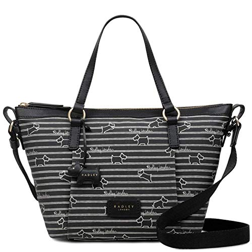 Radley Stripe Oilskin Black Medium Zip-Top Multiway Bag