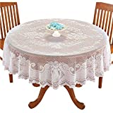 WUBODTI Angel White Floral Lace Banquet Tablecloths Round for Holiday Festival Party Baby Showers Vintage Table Covers Cloths for Dinning Room Kitchen Tables, 71 Inch Round