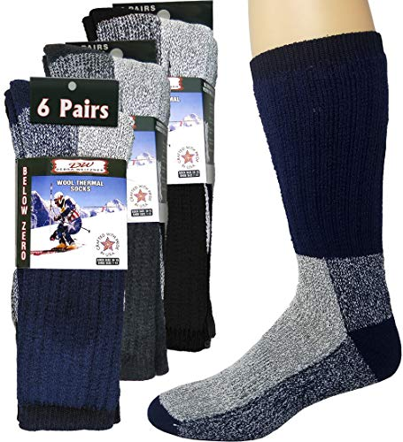 Mens Thermal Socks Heavy Extreme Cold Weather Boot Socks 6-pack By...