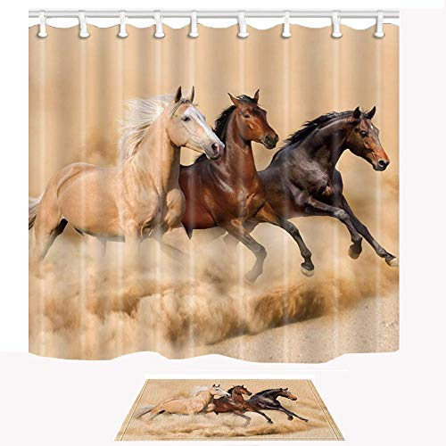 Horse Shower Curtain and Mat