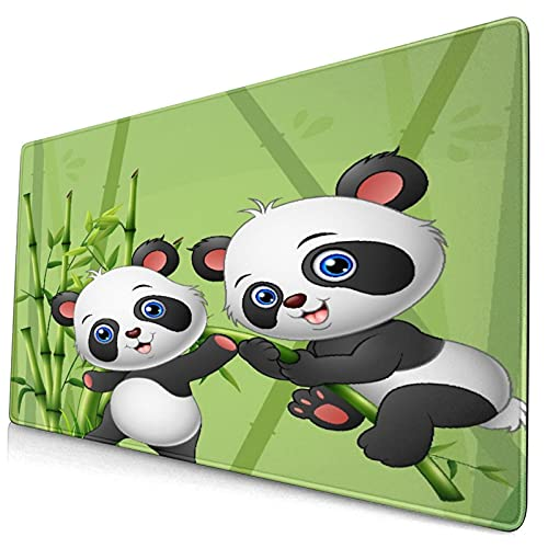 """Extra Large Gaming Mouse Pad with Stitched Edges,Animals Panda Playing in Bamboo Forest,Non-Slip Rubber Base Computer Keyboard Mat,29.5"""" x 15.8"""""""