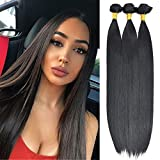 DILUSILK Synthetic Hair Bundles Straight 3 Bundles 210g Soft as Human Hair Natural Black Hair Weft 18 20 22 Inch