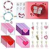 MIAHART Calendario de Adviento de San Valentín 2021 Pulsera del Día de San Valentín Pulsera de Cuentas DIY y 24 Tarjetas de corazón Tarjeta de felicitación de San Valentín para niñas (Pink)