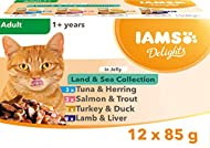 IAMS Delights Wet Food Land and Sea Collection for Adult Cats with Meat and Fish in Jelly, 12 x 85 g