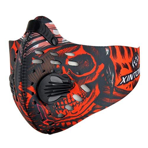 IMIKEYA 1 Unid Máscara de Polvo de Carbón Activado Elástico a Prueba de Viento a Prueba de Polvo Máscara Antiniebla Deportiva para Entrenamiento Ciclismo Limpieza de La Casa (Rojo)