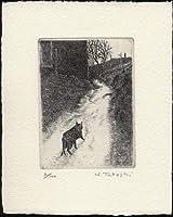 どこへ行くの(猫の散歩)銅版画・エッチング、作品のみ コレクション