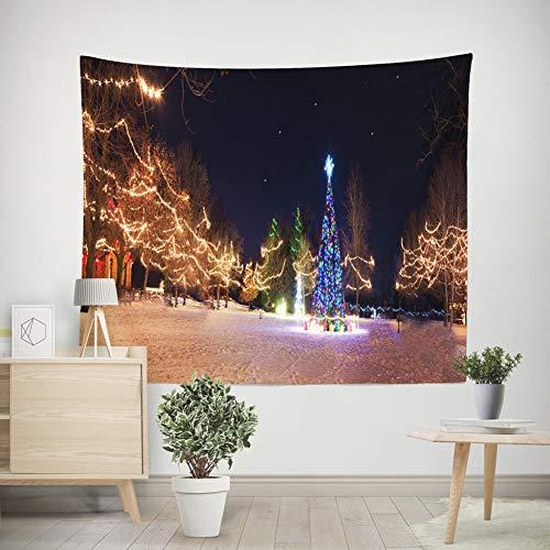 Generieke kersttapijt, kerstman zit op het dak blik door verrekijker helder stadszicht, breed wandbehang voor slaapkamer woonkamer dorm