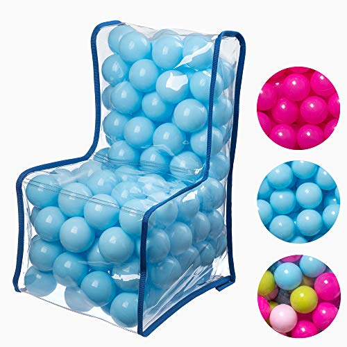 KADAX Kindersessel mit Bällen, Sitzsack, Kinderstuhl für Jungen, Mädchen, Spielzimmer, Kinderzimmer, Kindermöbel aus Kunststoff, Sessel, Babysessel, kindersicherer Sitz (blau)