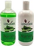 Dermawax- Épilation à la cire pré et post-traitement. Lotion de prétraitement à l'aloe vera et lait de post-traitement à l'aloès vera