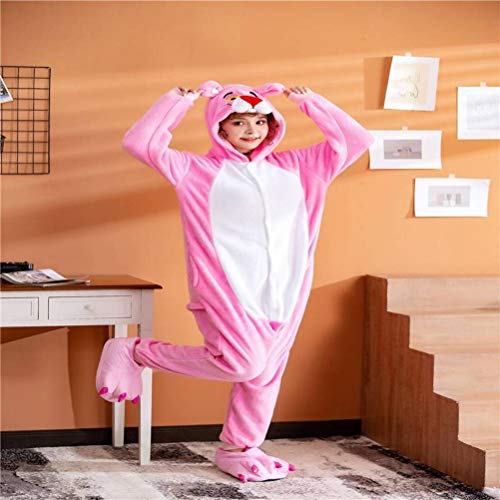 Unisex Pajamas Adult Animal Onesies Flannel Pink Leopard Cartoon Parent-Child One-Piece Pajamas Autumn and Winter Thickening Home Clothes, Golden_flower, Pink, XL
