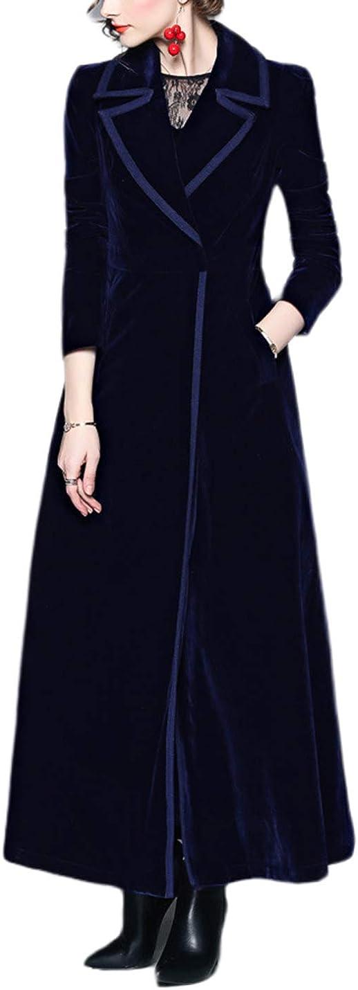 Vintage Coats & Jackets | Retro Coats and Jackets Omoone Womens Slim Notch Lapel Long Vintage Velvet Trench Coat Dress  AT vintagedancer.com