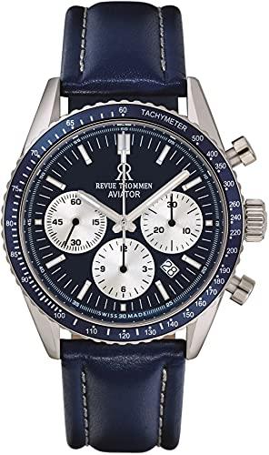 Revue Thommen Aviator 17000.6535 - Reloj de pulsera para hombre (42 mm, cronógrafo, correa de piel)