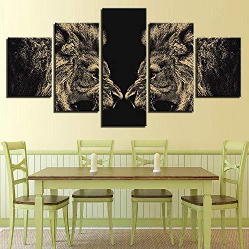 Samorou Gebrüllender Zerbrochener Löwe Spiegel Tier 5 Aufeinanderfolgende Hd-Leinwandbilder Hauptdekoration Fünf in Einem Modularen Bild (Rahmenlos)