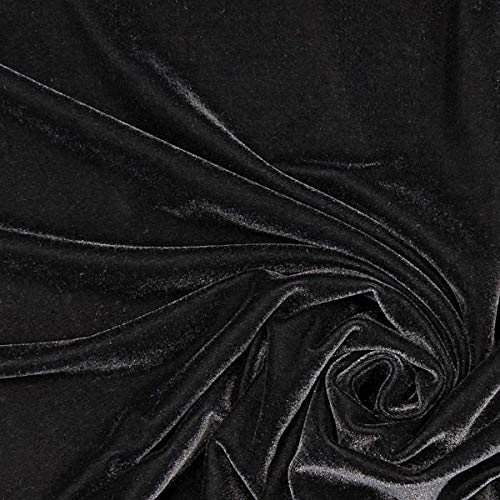 Stretch Samt schwarz — Meterware ab 0,5m — zum Nähen von Abendkleidung, Blazer und Tops/T-Shirts