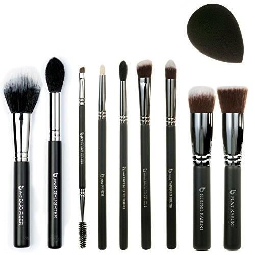 Best of Beauty Junkees 10pc Makeup Brush Set - Professional Make Up Brushes for Full Face Foundation, Concealer, Powder, Blush, Highlighter, Eyeshadow Eyebrows, Blender Sponge, Affordable