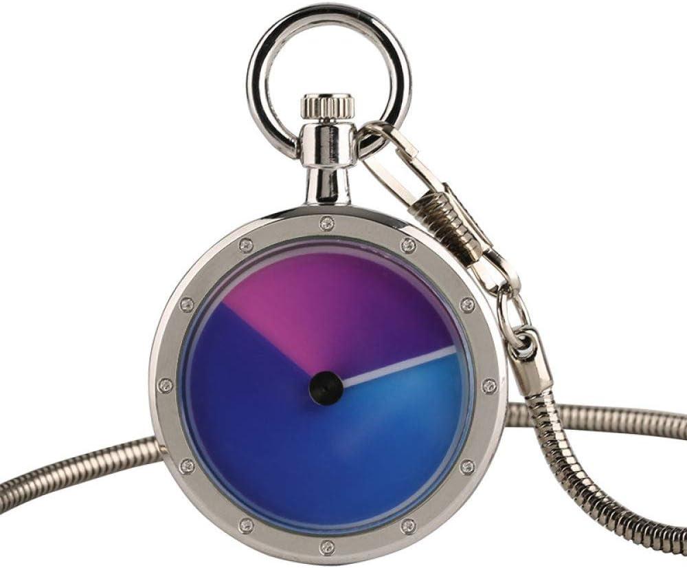 UIEMMY Reloj de bolsillo creativo de moda negro/plata cuarzo Fob reloj de bolsillo elegante retro regalo para hombres mujeres con cadena