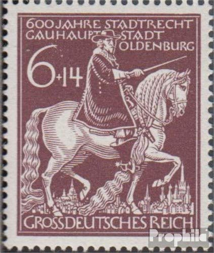 Prophila Collection Deutsches Reich 907III (kompl.Ausg.), Schrägstrich Oben durch die 6 (Feld 5) 1944 601 Jahre Oldenburg (Briefmarken für Sammler) Pferde