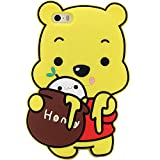 FunTeens Winnie Pooh Case for iPhone SE 5 5S 5C,3D Cartoon Animal Cute Soft Silicone Character Cover,Design Kawaii Fashion Cool Protective Rubber Skin Shell for Kids Child Teens Girls (iPhone5)