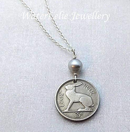 IRISH RABBIT coin necklace. Ireland coin necklace. Rabbit necklace.