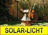 XL,Windmühle, wetterfest, mit Solar, 100 cm robust mit Bitumen, MIT WINDFAHNE Windrad-Seitenruder, Windmühlen Garten, imprägniert + kugelgelagert 1 m groß in schwarz anthrazit