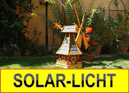 XL,Massivholz-Windmühle, wetterfest,robust mit Bitumen, MIT WINDFAHNE Windrad-Seitenruder, Windmühlen Garten, imprägniert + kugelgelagert 1 m groß in schwarz anthrazit dunkelgrau dunkel, mit SOLARBEL