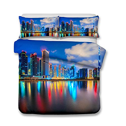 Housse de Couette 220x240 Style Moderne Créatif 3D Urbain Lumière Vue sur la mer Literie King Size Anti-humidité, Anti-acariens, Lisse Et Confortable