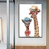 KELEQI Acuarela Animal Familia Pinturas en Lienzo Lindos Carteles de Jirafas e impresión Imagen de Arte de Pared para la decoración del hogar de la Sala de Estar (45x65cm) Sin Marco