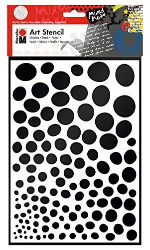 Marabu 0285000000011 - Art Stencil, Motivschablone für effektvolles Schablonieren auf Papier, Keilrahmen, Holz und Textilien, PVC - frei, lasergeschnitten, wiederverwendbar, DIN A4, Growing Dots