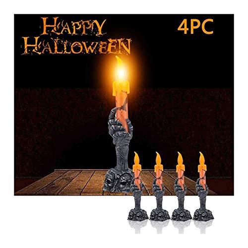 Lámpara Llama Luz de Chimenea Decorativo Inicio Del Partido De La Lámpara Fantasma Llama De Vela Ligera De 4 PC De Halloween Esqueleto De La Mano Del LED Sin Llama De La Vela Ligera Decoración De La B