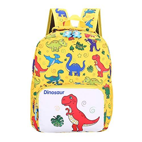 YWLINK Mochila Escolar Ligero Estudiante NiñOs Y NiñAs NiñOs Dibujos Animados Dinosaurio Animal Mochila Escolar Viajes Cremallera Bolsa Ocio Fiesta Regalo(Amarillo)
