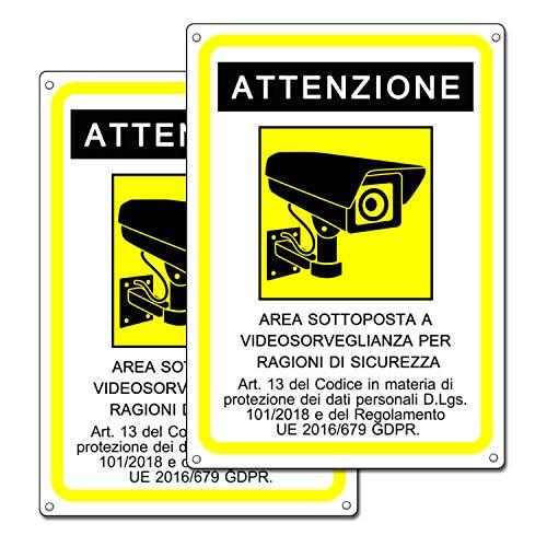 Cartello area videosorvegliata   Telecamera videosorveglianza per negozio e proprietà privata  GDPR 2020   plastica (20x15 cm) (2 Pezzi Cartello Area Videosorvegliata)