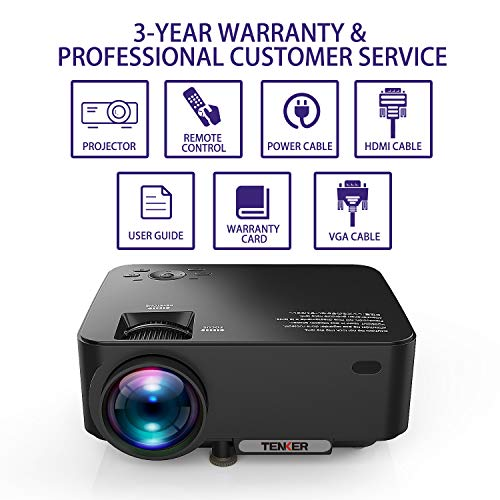 TENKER Upgrade Lumens Q5 Mini Projector, with Big Display LED Full HD Video Projector, Compatible with 1080P HDMI, Fire TV Stick, VGA, USB, AV for Home Theater Entertainment, Party and Games (Black)