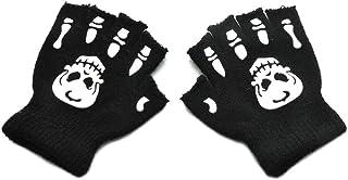 FANKEE Toddler Kids Halloween Cosplay Skeleton Skull Half Finger Gloves Glow in The Dark Luminous Fingerless Winter Mittens