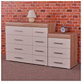 DRP Trading White & Sonoma Oak 4+4 Drawer Chest & 3 Draw Bedside Cabinet Bedroom Furniture 8 Draw