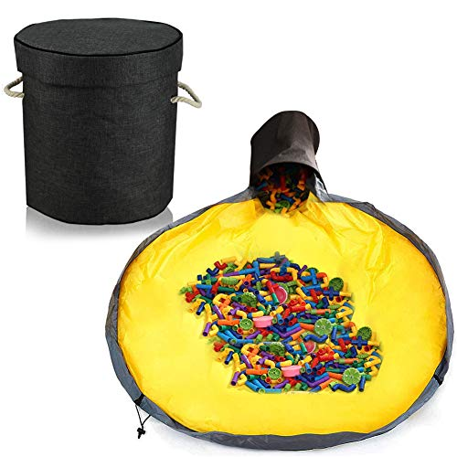 Aufräumsack Kinder, Aufbewahrungsbeutel für Kinderzimmer, Spieldecke Aufräumsack, Aufbewahrung Beutel Spielzeug, Aufbewahrungsbox mit Deckel, Spielzeug Aufbewahrung Tasche (schwarz)